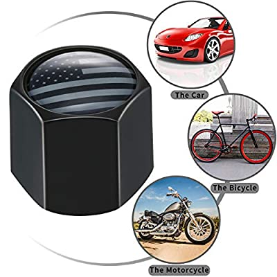 American Flag Valve Stem Cap USA Flag Black Stem Cover Aluminum with Rubber Ring Tire Wheel Rim Dust Cover for Cars, Trucks, Bikes, Motorcycles, Bicycles (4 Packs): Automotive