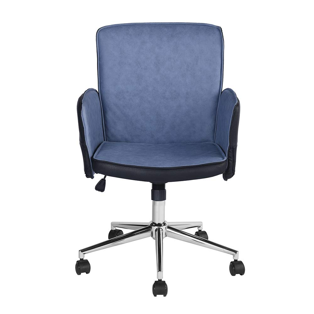 Swell Amazon Com Homy Casa Office Chair Mid Back Blue Pu Leather Bralicious Painted Fabric Chair Ideas Braliciousco