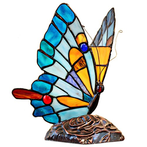 9 H Tiffany Stained Glass Flying Butterfly Accent Lamp