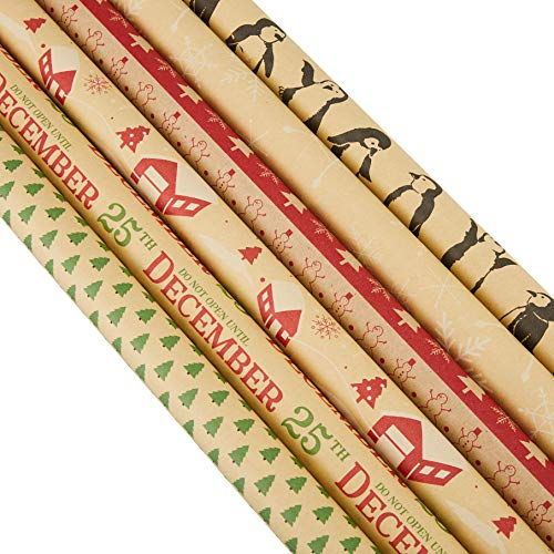 30 x 120 Inches Gift Wrapping Papers - 6-Pack Christmas Kraft Wrapping Paper Set, Xmas Paper Roll, Great for Wrapping Presents for Birthdays, Holiday, Christmas, Baby Shower, 6 Designs, 2.5 x 10 Feet ()
