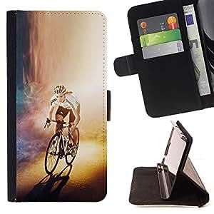 BullDog Case - FOR/Samsung Galaxy S4 IV I9500 / - / CYCLIST BICYCLE RACER /- Monedero de cuero de la PU Llevar cubierta de la caja con el ID Credit Card Slots Flip funda de cuer