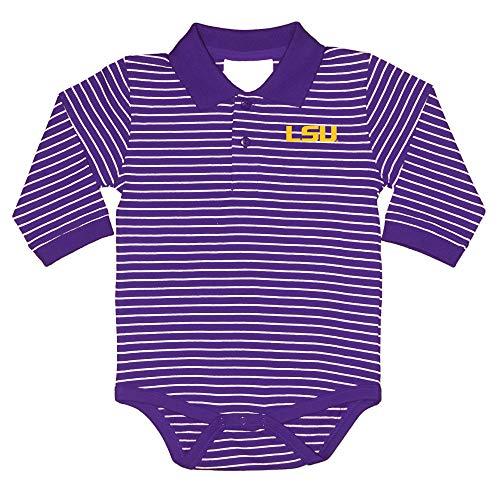LSU Tigers NCAA College Newborn Infant Baby Long Sleeve Striped Golf Creeper (0-3 Months) Purple,Gold