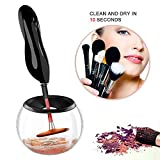Aolvo Makeup Brush Cleaner Kit, Professional Makeup Brush Cleaner and Dryer Machine with 8 Rubber Holders, Portable Electronic Automatic Brushes Cleaner, Suit for All Size Makeup Brushes - Black