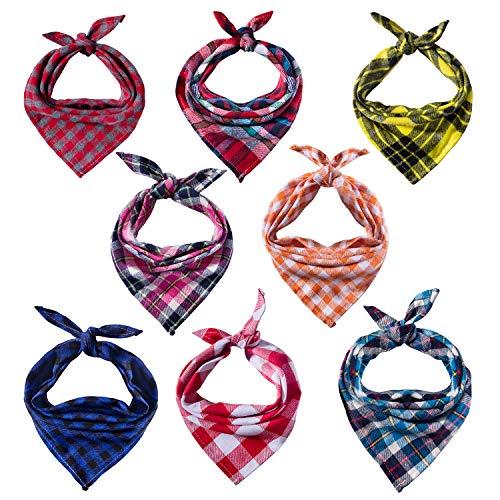 8 Pack Dog Bandanas & Dog Scarf, Triangle Pet Scarf Washable Reversible Plaid Printing Kerchief Neckerchief Handkerchief for Pet Dog Cat ()