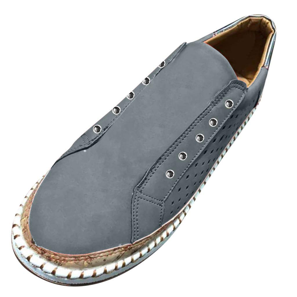 Sunyastor Sneakers for Women,New Casual Platform Hollow-Out Slip-on Faux Suede Breathable Round Toe Slip On Shoes Flat Gray