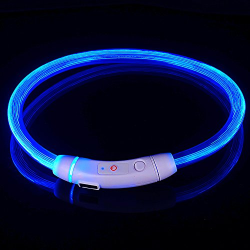LED Dog Necklace Collar,USB Rechargeable Safety Waterproof Light up Adjustable Flashing Pet Neck Loop by fashion&cool