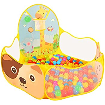 Play Tent with Basketball Hoop, Baby Ball Pool , Aobik Cartoon Animals 1.2m Extra Large Portable Foldable Ball Pit Indoor and Outdoor Play House for Kids Babys