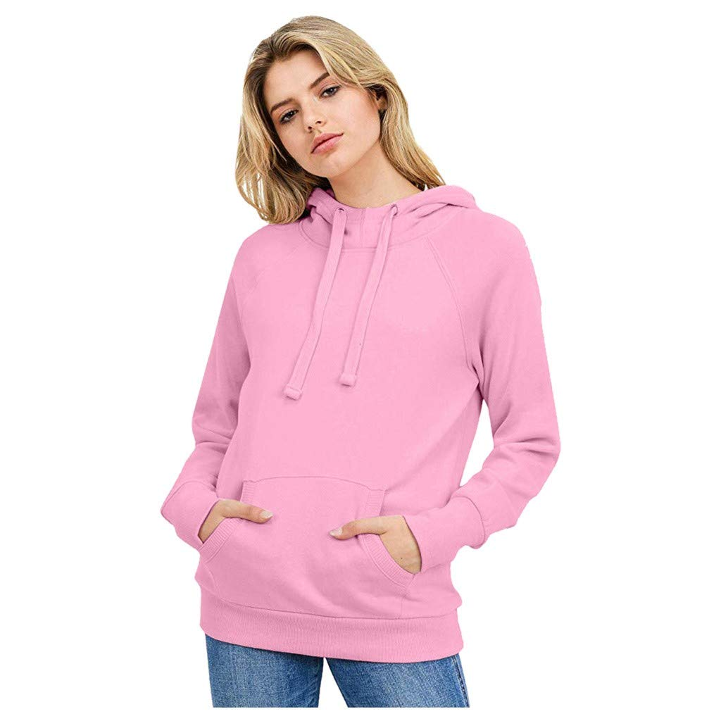 Opinionated Women's Solid Hoodie Pocket Long Sleeve Hoodie Casual Comfy Blouse with Pocket Pink by Opinionated