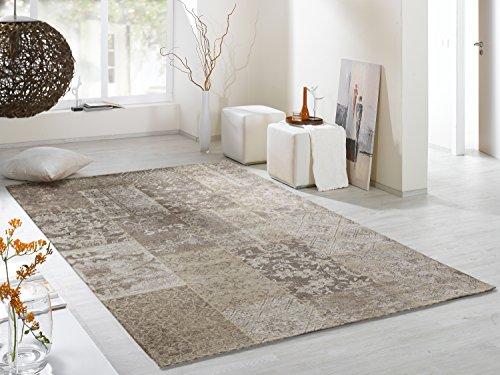DALLIANCE ALLOVER Vintage Patchwork Velour Teppich in natur, Größe: 80x150 cm