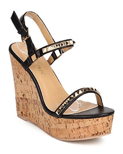 Slingback Cork Wedge Sandal (Liliana DI23 Women Leatherette Open Toe Pyramid Studded Slingback Cork Wedge Sandal - Black (Size: 8.0))