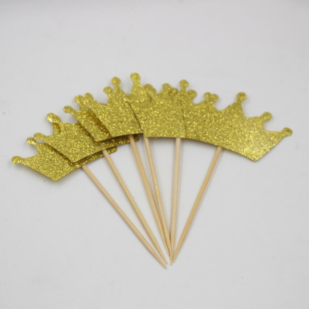 Amazon.com: Mybbshower 1 4/5 Inch Glitter Gold Tiara Stickers ...