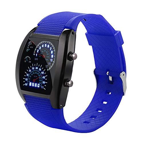 (Feitengtd Men's Fashion LED Light Flash Turbo Speedometer Sports Car Dial Meter Watch)