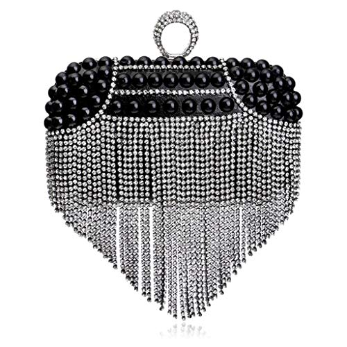 Bag Ritual Black Bag Pearls Handbags Fringes Shoulder Banquet Bride'S Evening Luxurious Party JUZHIJIA Night Hand Club F6ZwxIzq5