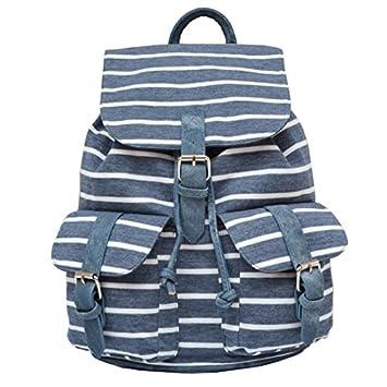 0d7e25ee6a95e KLXEB Frauen Streifen Rucksack Weibliche Schultaschen Für Jugendliche  Mädchen Mode Große Rucksäcke Reise Rucksack