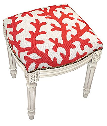 Needlepoint Stool (Stools - Coral Gables Needlepoint Stool - Vanity Seat -Coral - Upholstered Stool - Accent Furniture)
