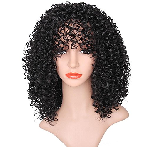 AMA(TM) Synthetic Afro Curly Hair Wigs for Black Woman Short Kinky Hair Jet Black Heat Resistance Fiber Human Hair (Black) by AMA(TM) (Image #1)