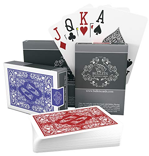 - Bullets Playing Cards - Two Decks of Poker Cards - Waterproof Plastic - Easy to Read & Great Feel - Jumbo Index & Two Pips - Professional Playing Cards for Texas Holdem Poker