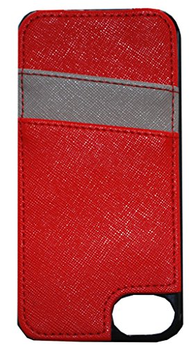 Secure Style RFID Protected Cell Phone Case w/Credit Card Sleeve for iPhones 6+/7+/8+ - Red/Gray (Best Postcard App Iphone)