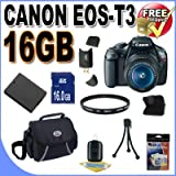 Canon EOS Rebel T3 12.2 MP CMOS Digital SLR with 18-55mm IS II Lens and EOS HD Movie Mode (Black)+16GB+Extra Battery+UV Filter+Case+Accessory Kit, Best Gadgets