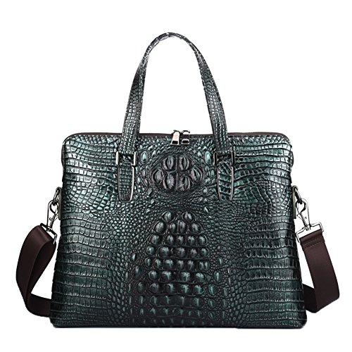 Genda 2Archer Crocodile Embossed Tote Briefcase Crossbody Shoulder Laptop Bag (Green) (Crocodile Bag Perfect)