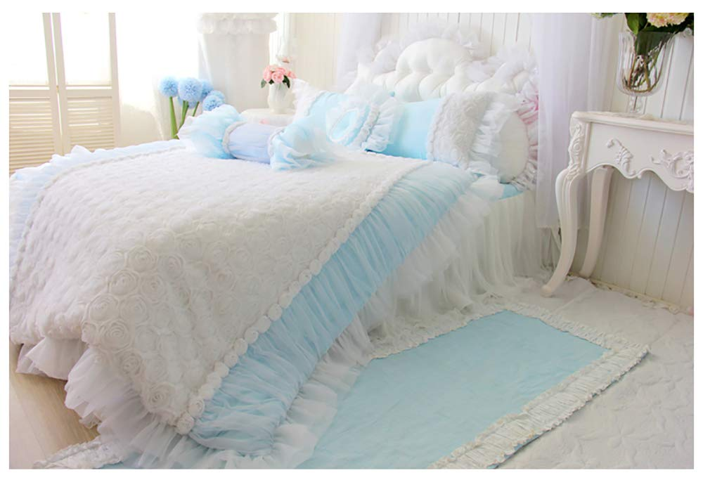 姫系 ベッドスカート ダブル 3点セット ブルー 綿100% 3Dのバラ 掛け布団カバーベッド スカート枕カバー B07R2J12JR  ダブル