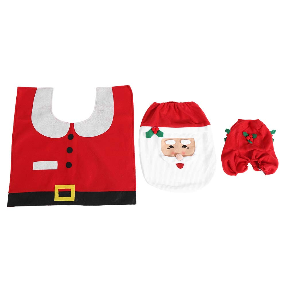 FTVOGUE Santa Toilet Seat Cover Set Floor Mat Water Tank Lid and Tissue Box Decor Christmas Bathroom Covers Set