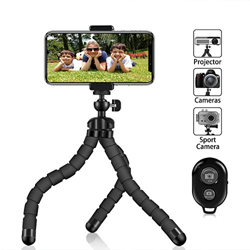 Phone Tripod, PacGo Portable and Flexible Cell Phone Tripod with Remote Shutter, Universal Clip and Gopro Adapter Compatible with iPhone, Android Phone, Camera, Sports Camera GoPro UPGRADE VERSION
