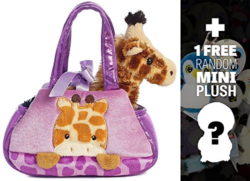 Peek A Boo Giraffe: Fancy Pals Mini-Plush Purse Pet Carriers Series + 1 FREE Aurora Mini-Plush Charm Bundle [327689] - Peek A-boo Giraffe