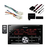 Pioneer Vehicle Digital Media Double Din Receiver with Bluetooth, Black with Metra Radio Wiring Harness For Toyota 87-Up Power 4 Speaker and Metra Axxess Universal Steering Wheel Control Interface