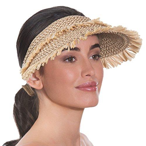 Eric Javits Luxury Fashion Designer Women's Headwear Hat - Tiki Visor - Peanut by Eric Javits