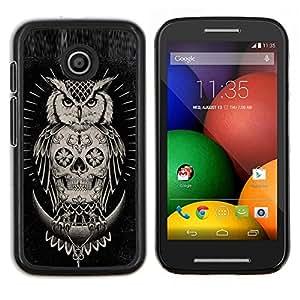 LECELL--Funda protectora / Cubierta / Piel For Motorola Moto E -- Cráneo búho nativo americano Negro --