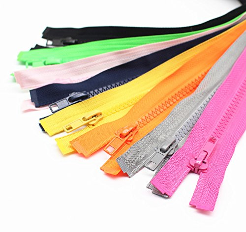 YaHoGa 10PCS 28 Inch (70cm) Separating Jacket Zippers for Sewing Coat Jacket Zipper Heavy Duty Plastic Zippers Bulk 10 Colors Mixed (1pcs per color) (Jacket Plastic Zipper)