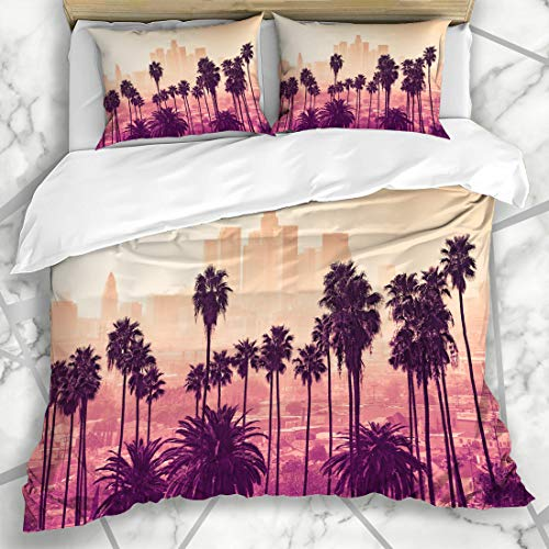 Ahawoso Duvet Cover Sets Queen/Full 90x90 Day City Los Angeles Skyline Palm Trees Foreground Parks Sunset California Downtown Coast Urban Microfiber Bedding with 2 Pillow Shams