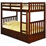 Twin over Twin Mission Bunk Bed in Merlot