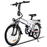 Asatr Power Plus Electric Bikes,20 inch Wheel Aluminum Alloy Frame Folding Electric Mountain E-Bike with Lithium Battery and 7 Speed System,White (US Stock)