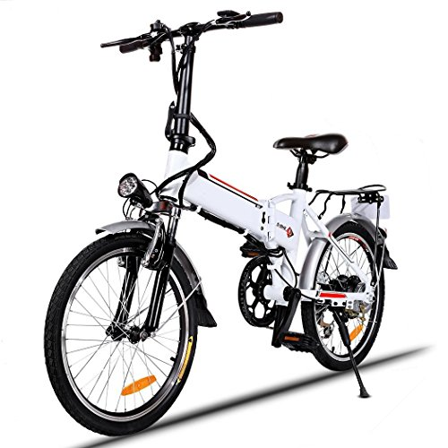 Asatr Power Plus Electric Bikes,20 inch Wheel Aluminum Alloy Frame Folding Electric Mountain E-Bike with Lithium Battery and 7 Speed System,White (US Stock) by Asatr