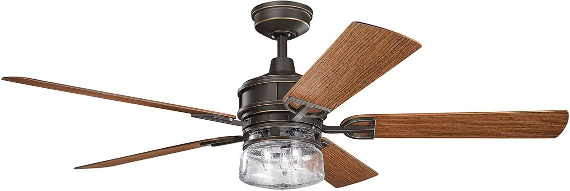 Kichler 310140OZ, Lyndon Patio Olde Bronze 60 Outdoor Ceiling Fan with Light Wall Control