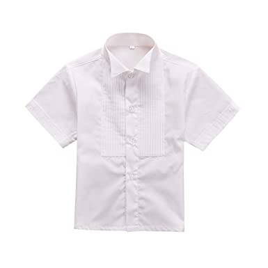 a7f803adc1 Image Unavailable. Image not available for. Color: Meisa City Boys White  Cotton Striped Short Sleeve Shirt ...