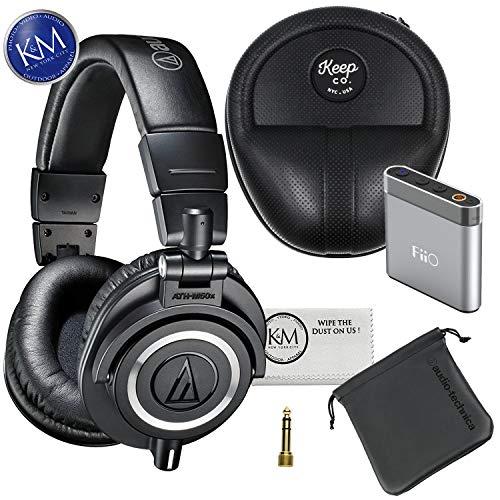 Audio-Technica ATH-M50x Monitor Headphones (Black) + Premium Headphone Bundle