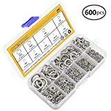 Sutemribor 304 Stainless Steel Spring Lock Washer Assortment Set 600pcs, 9 Sizes - M2 M2.5 M3 M4 M5 M6 M8 M10 M12