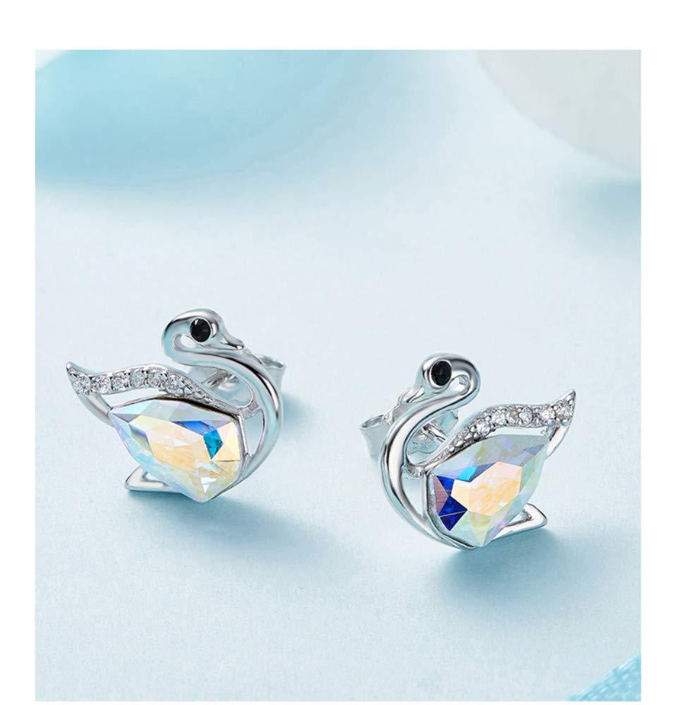 THTHT Crystals Women Earrings 925 Sterling Silver Elegant Swan Stud Earrings Jewelry Fashion Romantic Love Gift