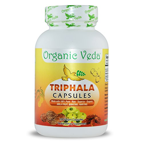 Organic Triphala Capsules. 100% Pure, Veg and Natural Super Food Supplement. Non GMO, Gluten FREE. US FDA Registered Facility. Kosher Certified Vegetarian Capsule. All Natural!