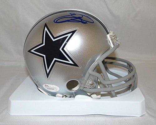 Emmitt Smith Autographed Blue Dallas Cowboys Mini Helmet- JSA Witnessed (Emmitt Smith Hand Signed)