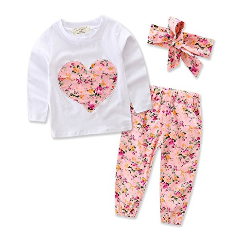 Baby Girls Long Sleeved Top - Funnycokid Baby Girl 3PCS Outfits Set Floral Printed Long Sleeved T-Shirt Top + Long Pants + Headband 18-24 Months