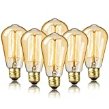 6-Pack Edison Bulb, DecorStar Edison Light Bulbs, Antique Vintage Light Bulb, 60W, 2100K Amber Warm, 230 Lumens, 110V, E26, ST58 Dimmable Edison Lights for Home Light Fixtures and Decorative