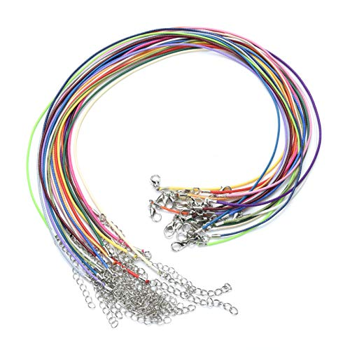 '/1.5mm Waxed Cotton Necklace With Lobster Clasp for DIY Jewelry Making (1 pcs per color) ()