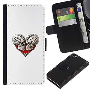 KingStore / Leather Etui en cuir / Apple Iphone 6 / Corazón del cráneo de Sangre Amor Huesos Blanca
