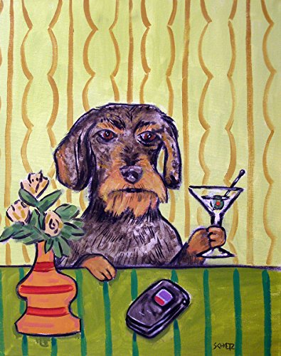 Dachshund at the Martini signed dog art print