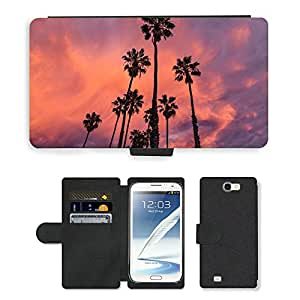 Super Stella Cell Phone Card Slot PU Leather Wallet Case // M00421659 Plants Trees Palm Nature Environment // Samsung Galaxy Note 2 II N7100