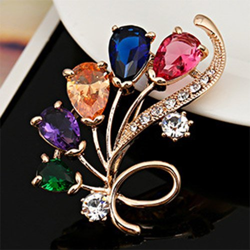 Flower Brooch Pin Multi Color Bouquet Style Delicate Cubic Zirconia Rose Gold Plated Cocktail Dress Gift